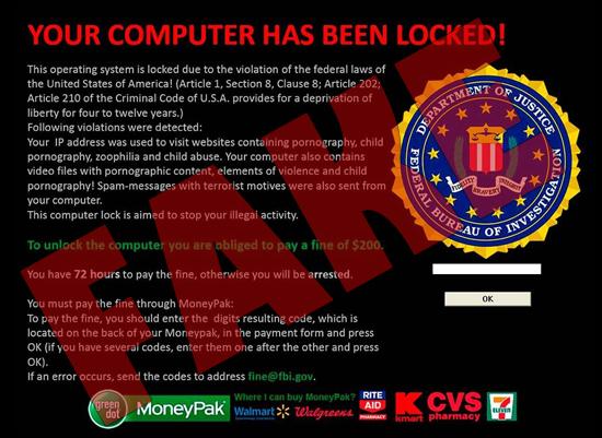 Warning: Computer virus using FBI logo to extort money from users